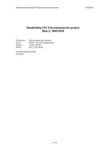 Handleiding OO Telecommunicatie-project Blok F, 2009/2010 - OED