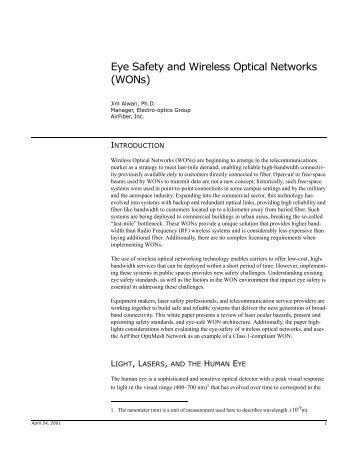 Eye Safety and Wireless Optical Networks (WONs) - OED