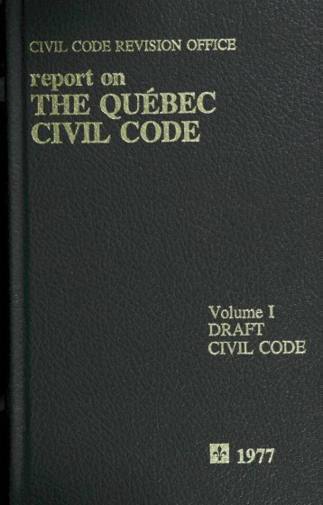 Volume 1, Draft Civil Code - Digital exhibitions & collections - McGill ...