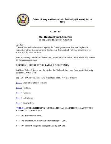 Cuban Liberty and Democratic Solidarity Act