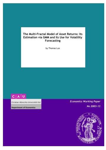 The Multi-Fractal Model of Asset Returns: Its Estimation via GMM ...