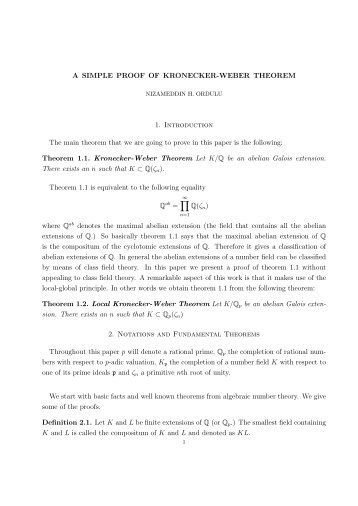 A Simple Proof of the Kronecker-Weber Theorem - William Stein