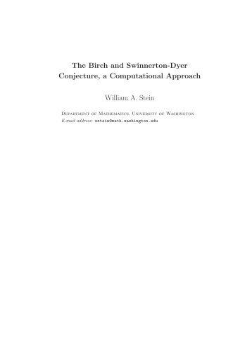 The Birch and Swinnerton-Dyer Conjecture, a ... - William Stein