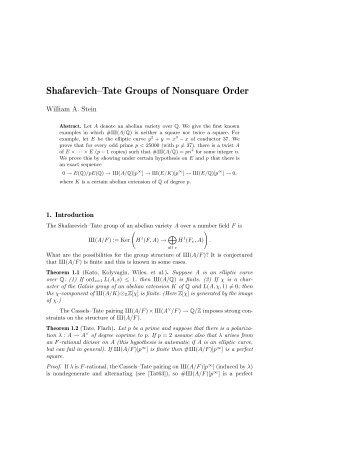 Shafarevich–Tate Groups of Nonsquare Order