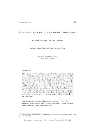 Computation of p-Adic Heights and Log Convergence - William Stein
