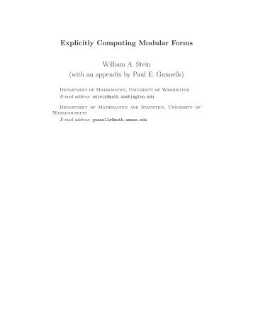Stein: Introduction to computing with modular forms - William Stein ...