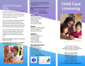 Child Care Licensing Brochure - Alaska Department of Health and ...