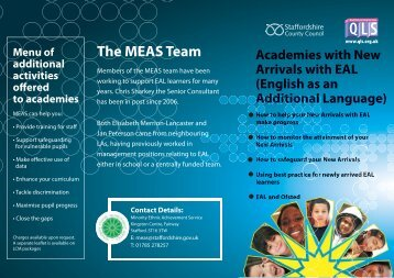 New EAL Arrivals information for Academies (MEAS) - Staffordshire ...
