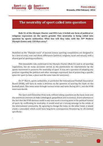 The neutrality of sport into question - Sport et Citoyenneté