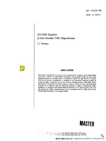 SESAMEEquation ofStateNumber7740:Polyctwbona!e
