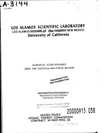 LOS ALAMOS SCIENTIFIC LABORATORY
