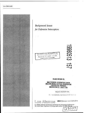 Background Issues for Defensive Interceptors