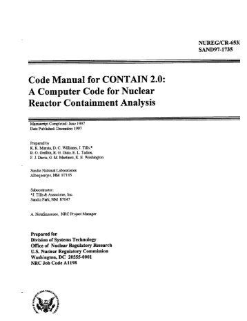 Code Manual for CONTAIN 2.0 - Federation of American Scientists
