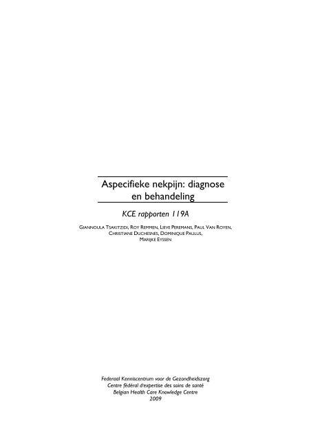 Aspecifieke nekpijn: diagnose en behandeling - KCE