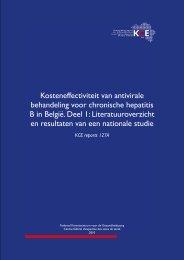 Kosteneffectiviteit van antivirale behandeling voor chronische ... - KCE