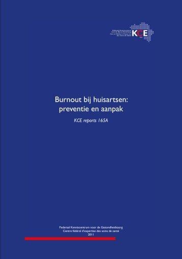 Burnout bij huisartsen: preventie en aanpak - KCE