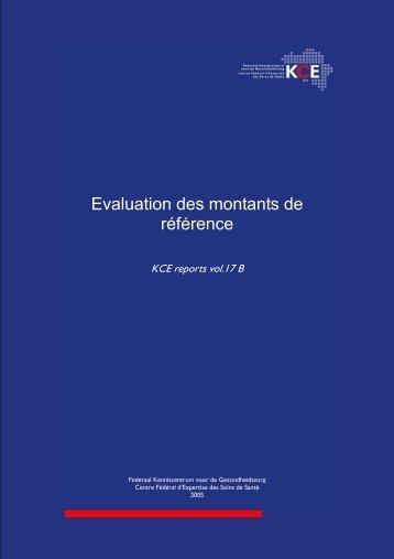 Evaluation des montants de référence - KCE