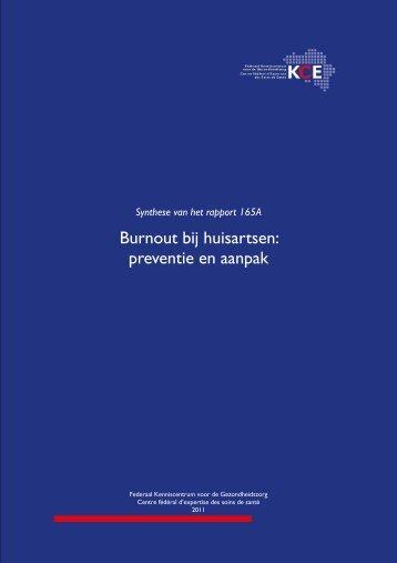 Burnout bij huisartsen: preventie en aanpak - synthese - KCE