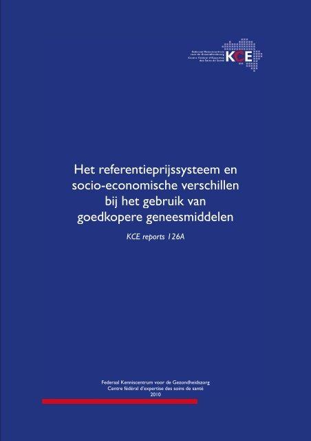 Het referentieprijssysteem en socio-economische verschillen ... - KCE