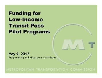 Funding for Low-Income Transit Pass Pilot Programs