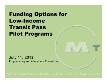 Funding Options for Low-Income Transit Pass Pilot Programs
