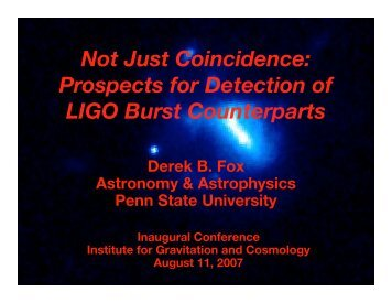 Not Just Coincidence: Prospects for Detection of LIGO Burst ...