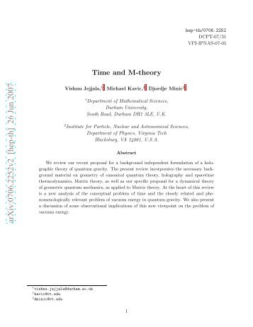 Time and M-Theory - Institute for Gravitational Physics & Geometry