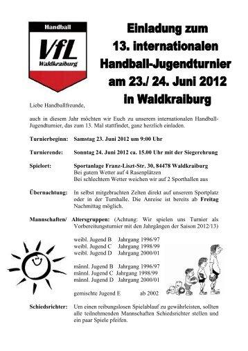Liebe Handballfreunde, auch in diesem Jahr möchten wir Euch zu ...