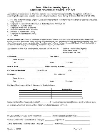 Housing Application - The Town of Bedford