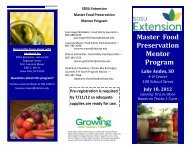 SDSU Extension Master Food Preservation Mentor Program - iGrow