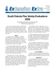 South Dakota Flax Variety Evaluations 2009 - South Dakota State ...