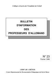 Bulletin N° 23 - Allemand @ Créteil - Académie de Créteil