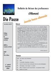 Die Pause n° spécial - Allemand @ Créteil - Académie de Créteil