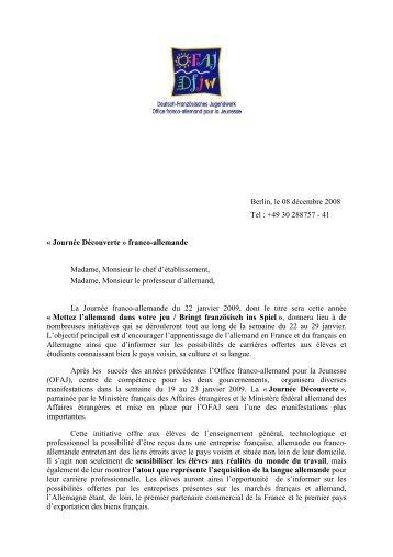 la lettre de l'OFAJ aux établissements - Allemand @ Créteil