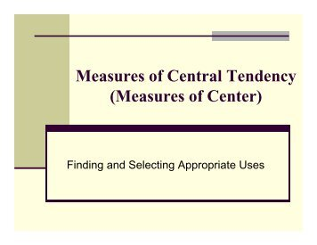 Statistics Fundamentals Measures of Central Tendency Mean ...