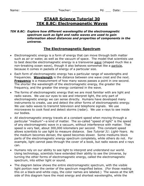 STAAR Science Tutorial 30 TEK 8 8C Electromagnetic Waves