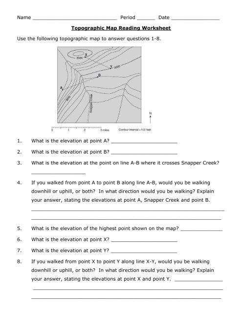 Reading Topographic Maps Worksheet