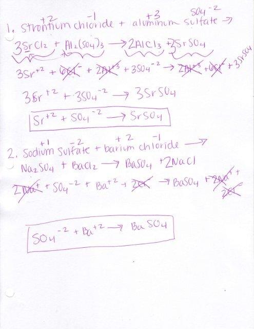 Net Ionic Equations Key