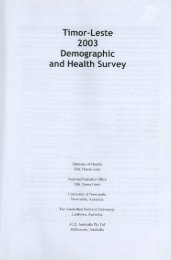 Timor Leste 2003 Demographic and Health Survey