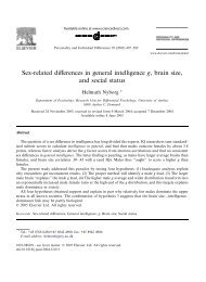 Sex-related differences in general intelligence g, brain size, and ...