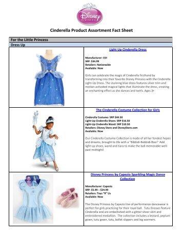 Cinderella Product Assortment Fact Sheet - Disney