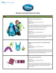 Monsters University Product Fact Sheet - Disney