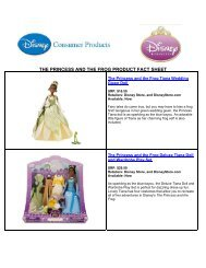 THE PRINCESS AND THE FROG PRODUCT FACT SHEET - Disney