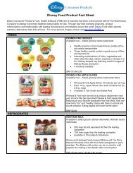 Disney Food Product Fact Sheet