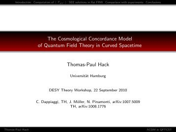 The Cosmological Concordance Model of Quantum Field Theory in ...