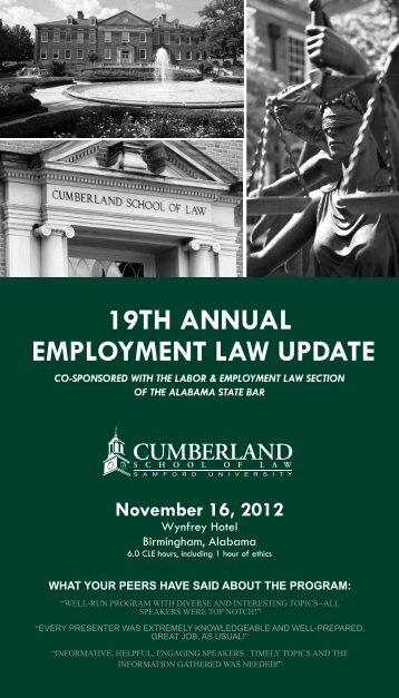 19TH ANNUAL EMPLOYMENT LAW UPDATE - Cumberland School ...