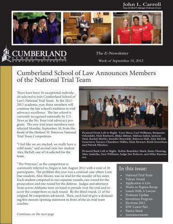 Cumberland School of Law Announces Members of the National ...