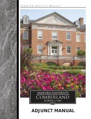 ADJUNCT MANUAL - Cumberland School of Law - Samford University