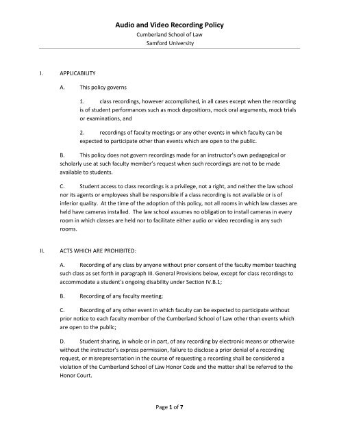 Audio and Video Recording Policy - Cumberland School of Law ...