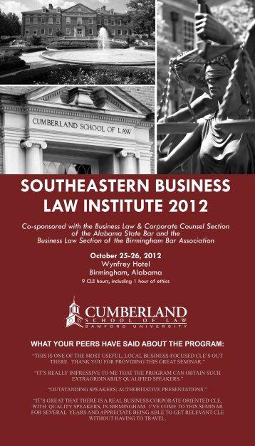 southeastern business law institute 2012 - Cumberland School of ...